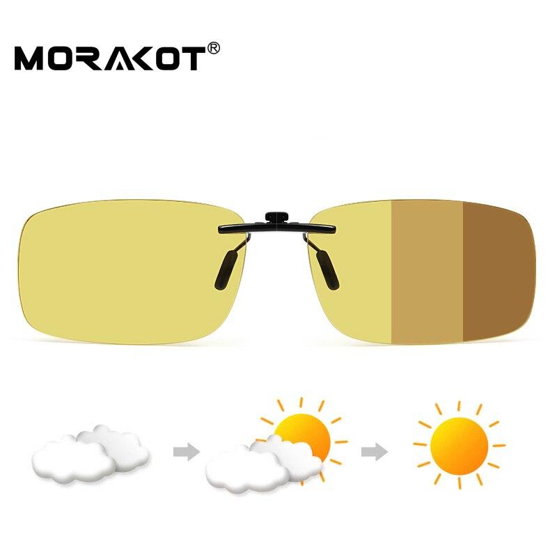 MORAKOT Homens Photochromic Polarizada Clip Sobre Óculos De Sol Ultraleves Lente de Visão Noturna Anti-Anti-UVA UVB Óculos De Sol Clipe BS001288