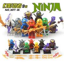 9 pcs Fantasma Ninja Lloyd GARMADON Nya Pythor Skylor Cole Jay Kai minifig Kapaurai Modelo de Montar Blocos de Construção Crianças Brinquedos