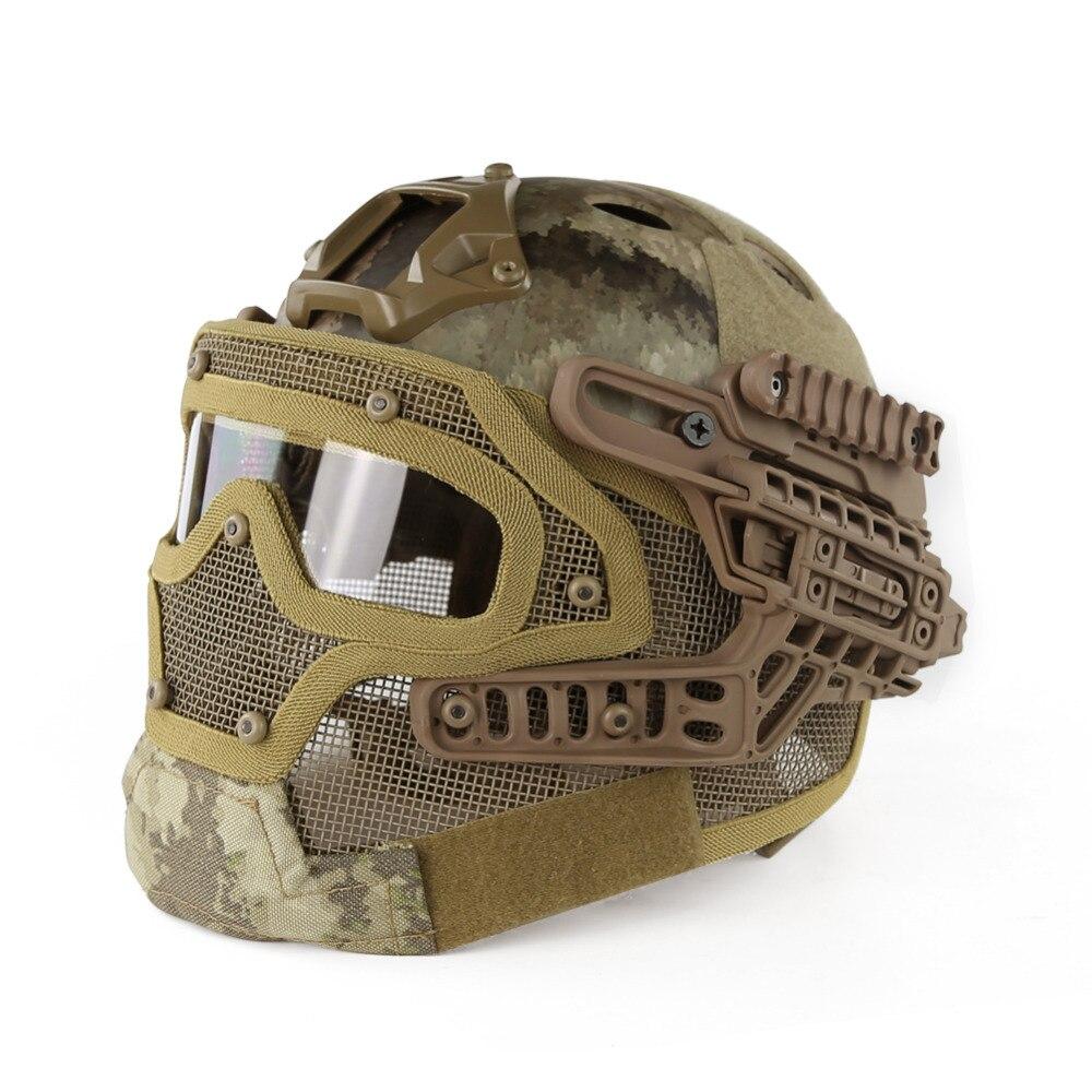 Casque de chasse Multicam masque de protection intégral lunettes tactiques Airsoft Paintball Camo Sports de plein air casques de cyclisme