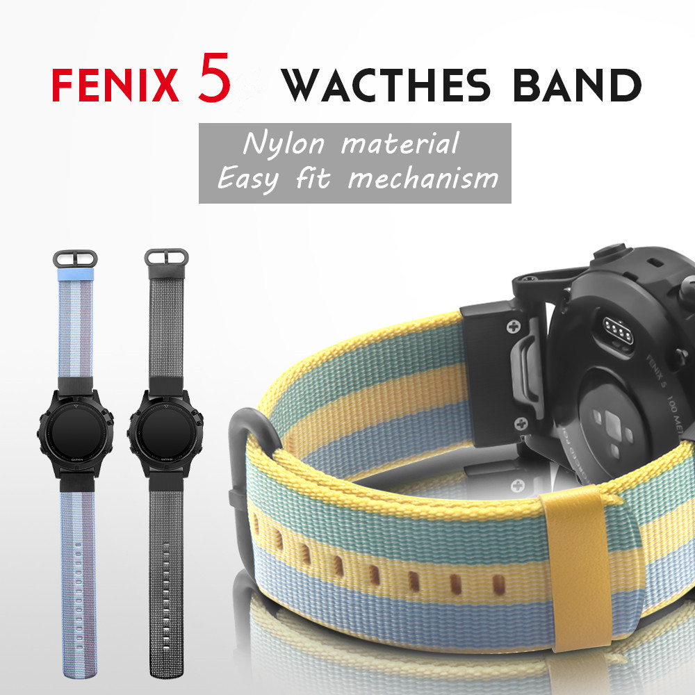 22mm Width Nylon Strap for Garmin Fenix 5 Band Outdoor Sport WatchBand with Quick fit for Garmin Fenix 5 Replace Wrist Band 12 colors 26mm width outdoor sport silicone strap watchband for garmin band silicone band for garmin fenix 3 gmfnx3sb