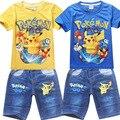 Nuevo 2016 Niños Juegos de Ropa Pokemon Ir de Manga Corta Camisetas para Niños de Dibujos Animados Pijamas de Los Cabritos Fijaron Primavera Juego Del Ocio Del Bebé 3-10Y