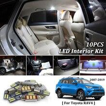 10 Pcs Bianco Canbus led Per Auto luci interne Cornici e articoli da esposizione Kit per 2007-2018 2019 Toyota Rav4 di Lettura interna a led cupola Tronco luci