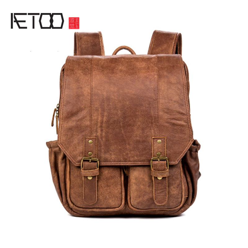AETOO Free leather shoulder bag travel bag head layer cowhide male and women computer backpack matte skin