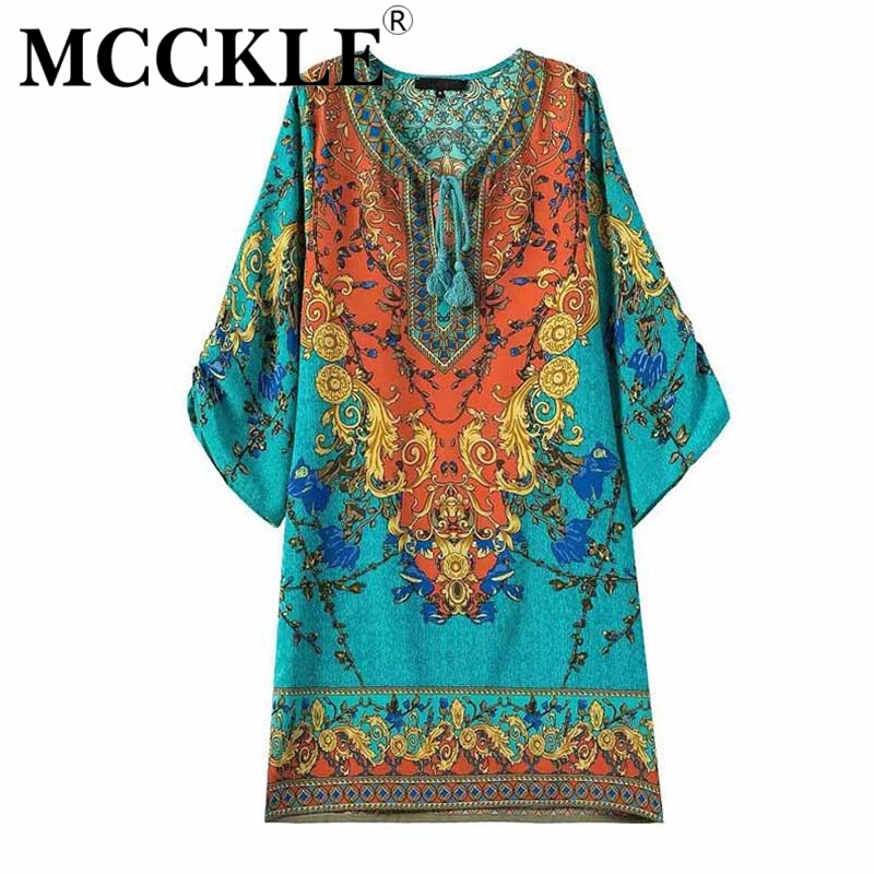MCCKLE Summer Women Print Party Dress Bos