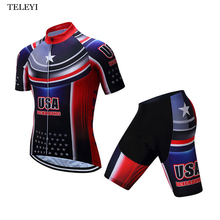 2017 New TELEYI Team USA Cycling Bike Bicycle Clothing Clothes Men Cycling Jersey Jacket Cycling Jersey Top Bicycle Suit 4-Color
