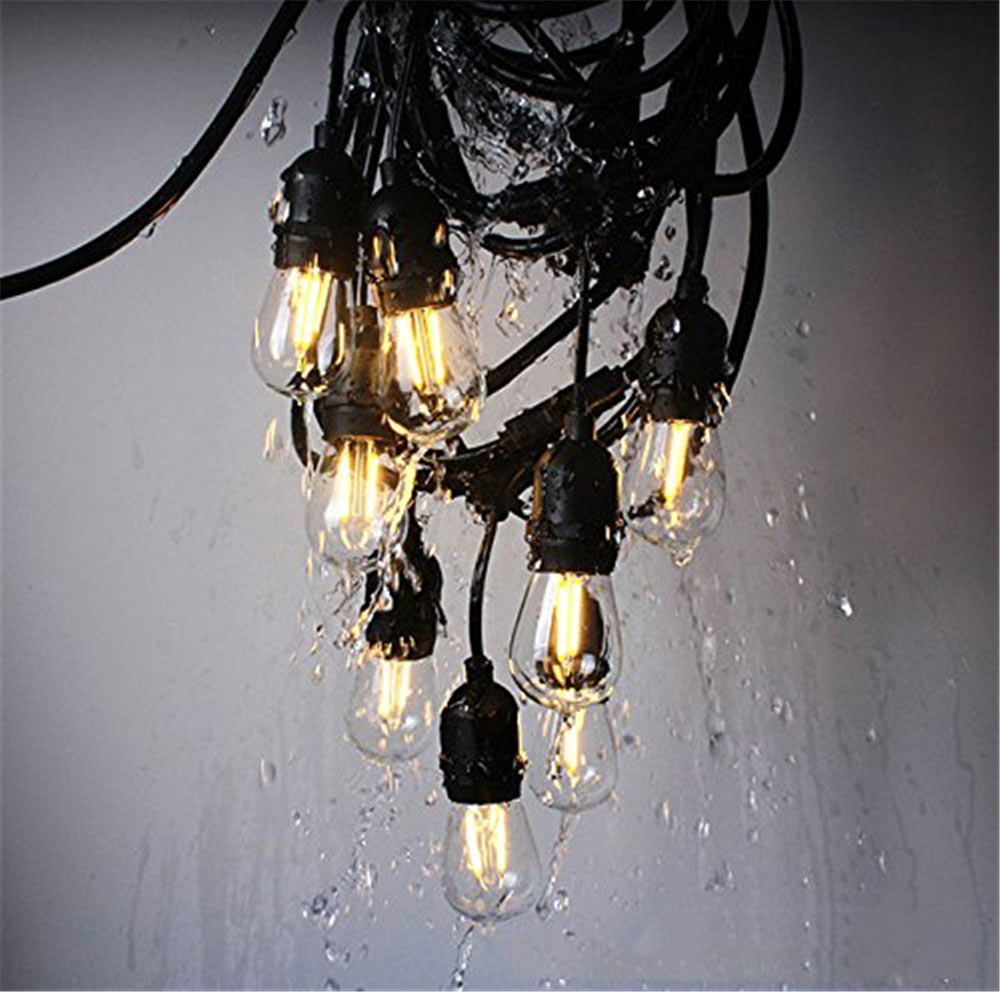 Waterproof 15M 15LED String Lights Indoor Outdoor Commercial Grade E26 E27 Street Garden Patio Backyard Holiday