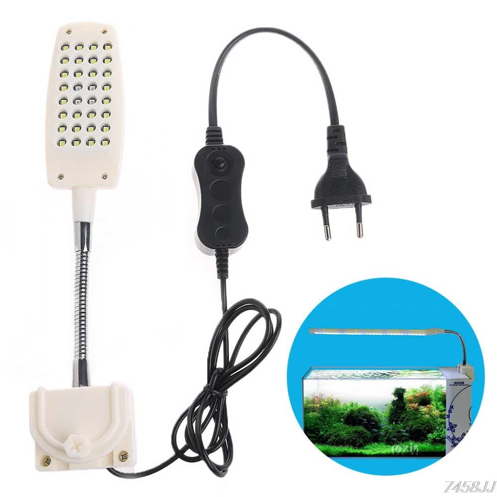 32 LED Aquarium Licht Clamp Clip Flexible White & Blue Beleuchtung Lampe G03 Drop ship