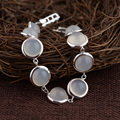 GZ 925 Silver Bracelet Natural White Chalcedony 18cm Chain S925 Thai Silver Bracelets for Women Jewelry