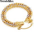 Trendsmax 11mm brilhante cut hammered duplo curb cubano rombo silver gold filled pulseira cadeia mens womens gb192