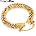 Trendsmax 11mm brillante cut martillado curb doble rombo cubana silver gold filled pulsera de cadena para mujer para hombre gb192