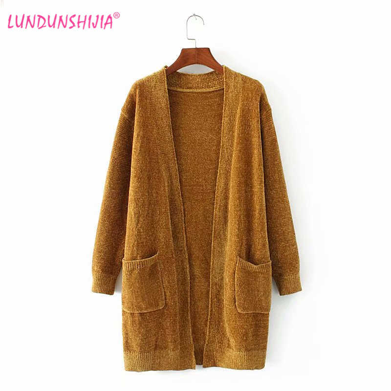 LUNDUNSHIJIA 2018 Autumn Winter Fashion Women Long Sleeve Loose Knitting Cardigan  Sweaters Chenille Knitted Female Cardigan d2877f6c8