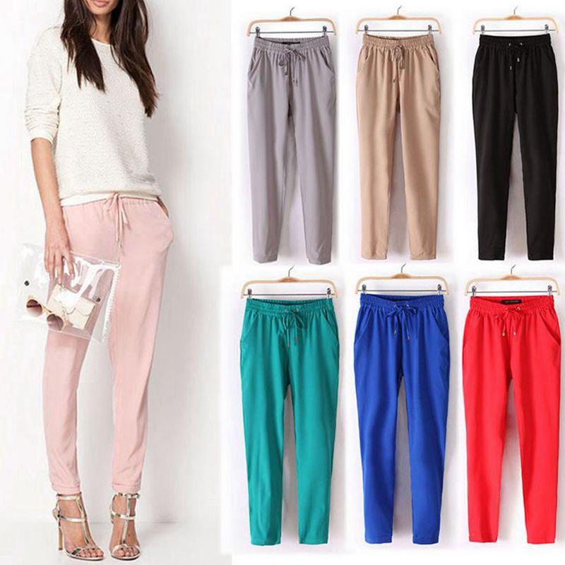 Laamei Women Casual Loose Harem Pure Color Elastic Waist Long Pants Autumn Soft Stretch Trousers Pantalone OL Style Chiffon Pant