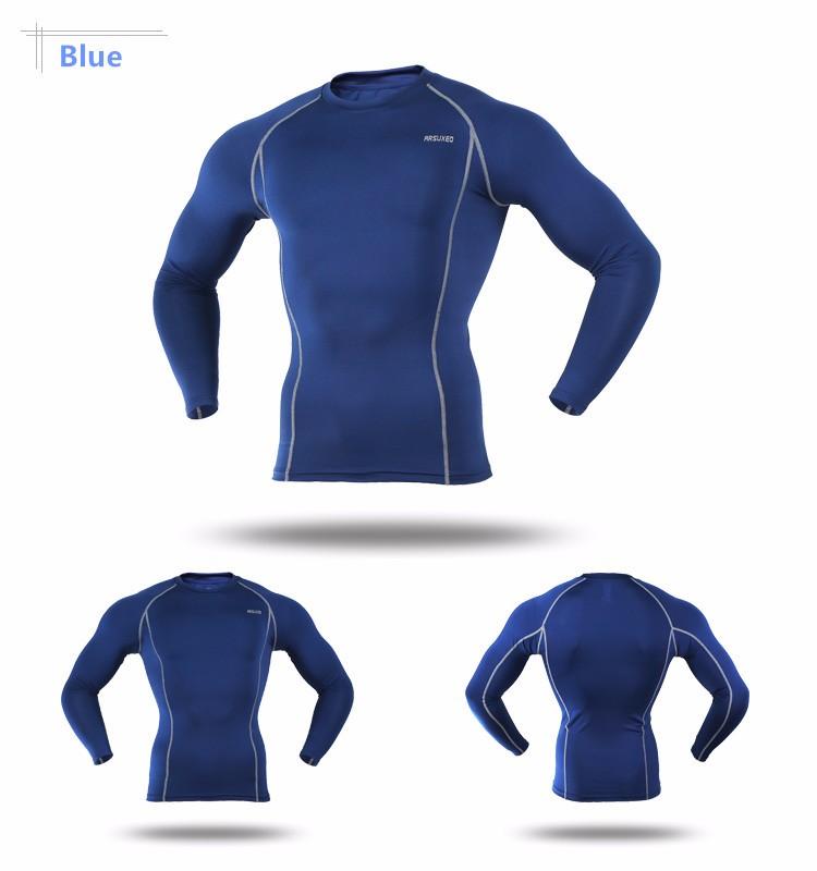 T-shirt de sport pour homme ARSUXEO bleu marine, manches longues, moulant slim, gym musculation cyclisme running, vue de face et de dos