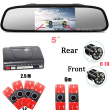 Car parking Sensor 6 Distance show on 5' Mirror Rear Front view Parktronic camera System Reverse radar Video backup 8 IR CAMERA koorinwoo 4in1 car monitor reverse radar 8 probes car parking sensor beep alarm parktronic with rear view camera automobiles
