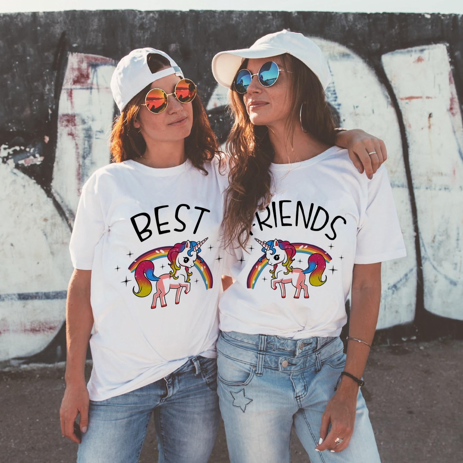 Newest Best Friends T Shirt Women Harajuku Kawaii BFF T-shirt 90s Graphic Cartoon Tshirt Funny Fashion Top Tees Streetwea Female
