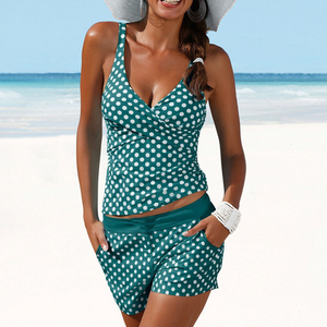 Image 3 - נשים נקודות Tankini בתוספת גודל בגדי ים לדחוף את שני בגד ים חתיכה עם מכנסיים קצרים גבוהה מותן רחצה חליפת 2XL פולקה הדפסה וחוף