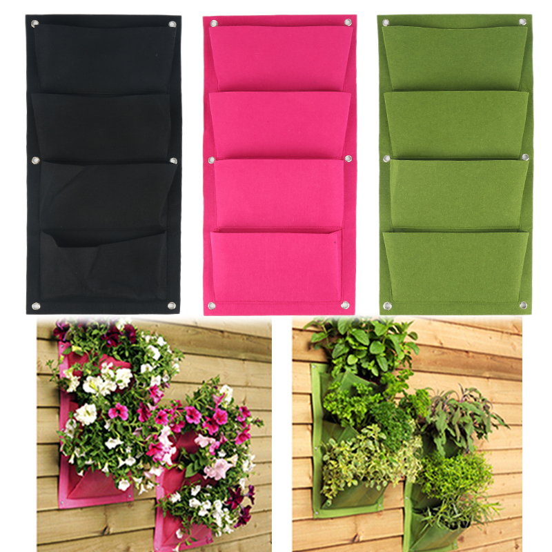 Outdoor Indoor Vertical Gardening Hanging Wall Garden 4 Pockets Planting Bags Seedling Wall Planter Growing Bags