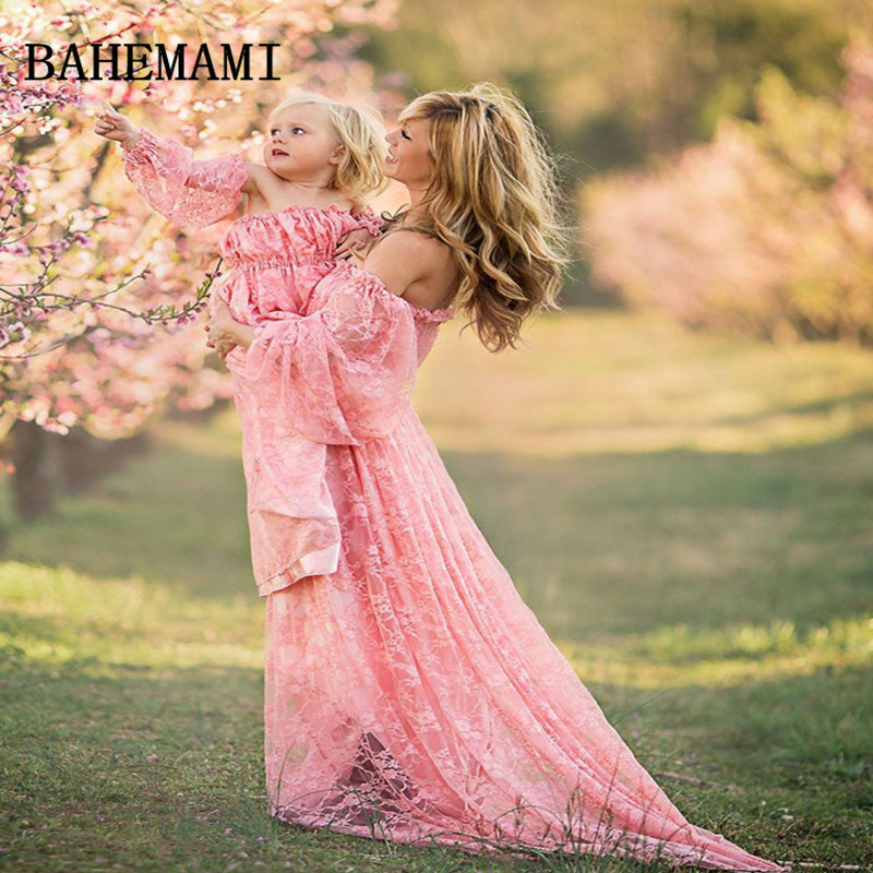 BAHEMAMI Lace Maternity Dresses Ruffles High Split Front Maternity Photography Gown Slash Neck Maxi Pregnancy Dress 2018 цена 2017
