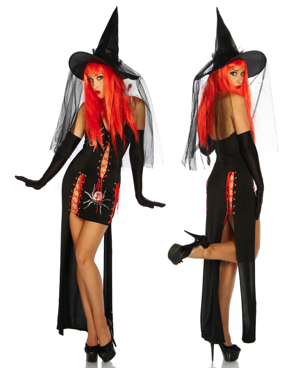 2017 Sexy Women Witch Costume Deluxe Adult Ladies Magic Moment Costume Adult Witch Halloween Fancy Dress W8910