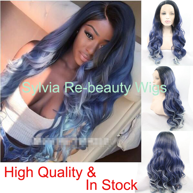 ФОТО Natural dark blue to blonde tips 3T ombre body wave wigs with black roots Glueless Synthetic Lace Front Wig Heat Resistant Fiber