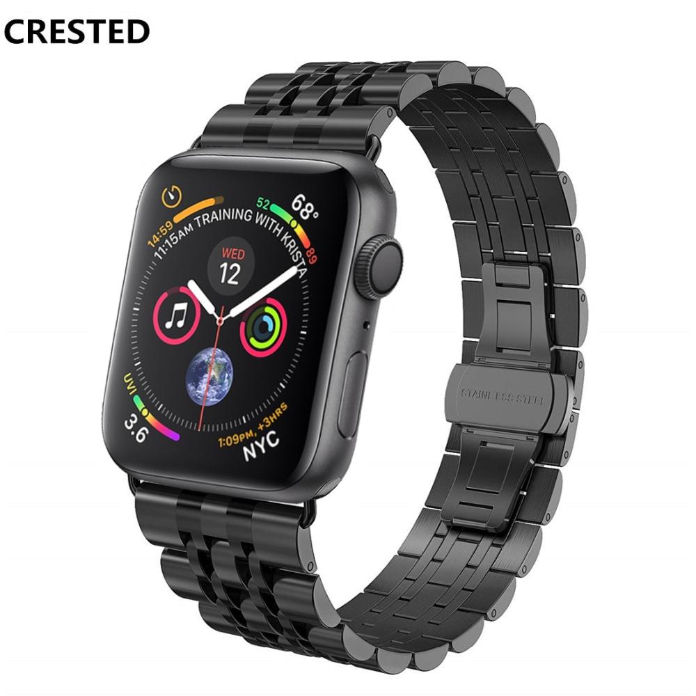 CRESTED cinturino In Acciaio Inox Per Apple Watch band 42mm 38mm iwatch serie 4 3 2 1 44mm /40mm del braccialetto del polso farfalla Anello di cintura