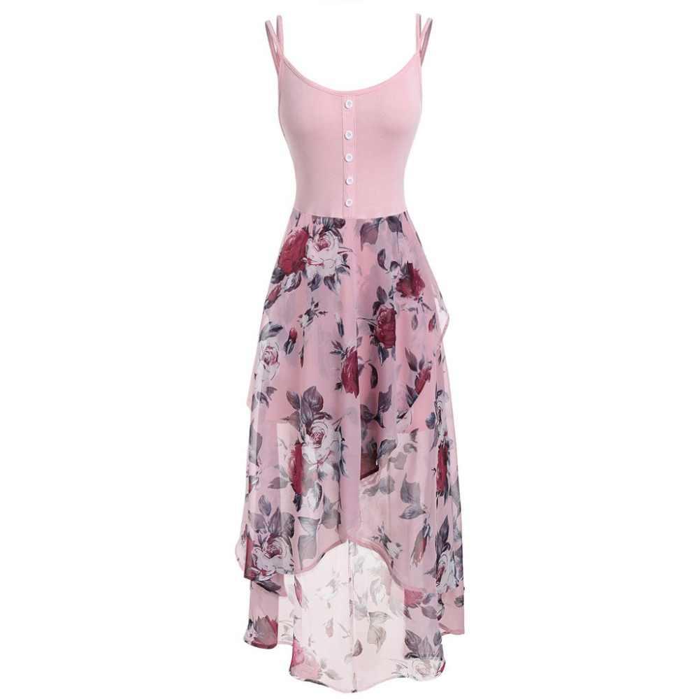Vestidos Kadın Artı Boyutu 5XL Kolsuz Düğmeler Çiçek Baskı Şifon Overlay Yüksek Düşük Elbise Robe Femme Vestido Bodycon Elbise BB4