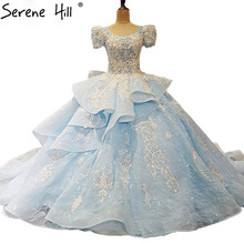 SERENE HILL Sky Blue Short Sleeve Wedding Dresses Lace Gown