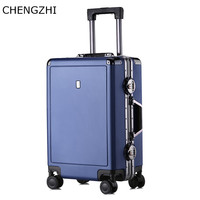 CHENGZHI NEW Super Fashion2024inch aluminum frame trolley suitcase PC wear resistant rolling luggage traveling bags with wheels