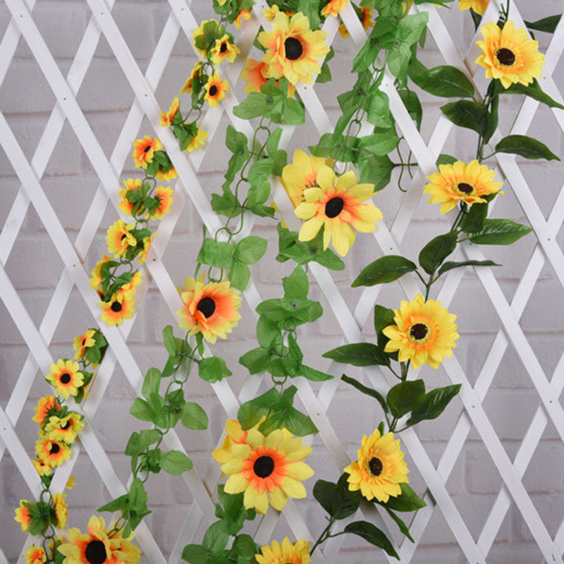 240cm Artificial Silk Sunflower Ivy Leaves Flower Vine Fake Artificial Plants Home Wedding Party Decor Hanging Garland decor thumbnail