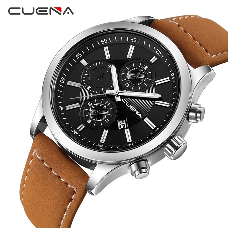 CUENA Male Clock Fashion Mens Watches Top Brand Luxury Quartz Watch Leather Calendar Waterproof Wristwatches Relogio Masculino men fashion quartz watch mans full steel sports watches top brand luxury cuena relogio masculino wristwatches 6801g clock