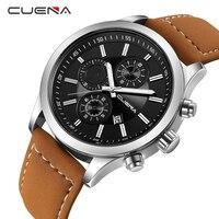CUENA Male Clock Fashion Mens Watches Top Brand Luxury Quartz Watch Leather Calendar Waterproof Wristwatches Relogio