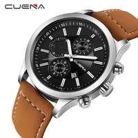 CUENA Male Clock Fashion Mens Watches Top Brand Luxury Quartz Watch Leather Calendar Waterproof Wristwatches Relogio
