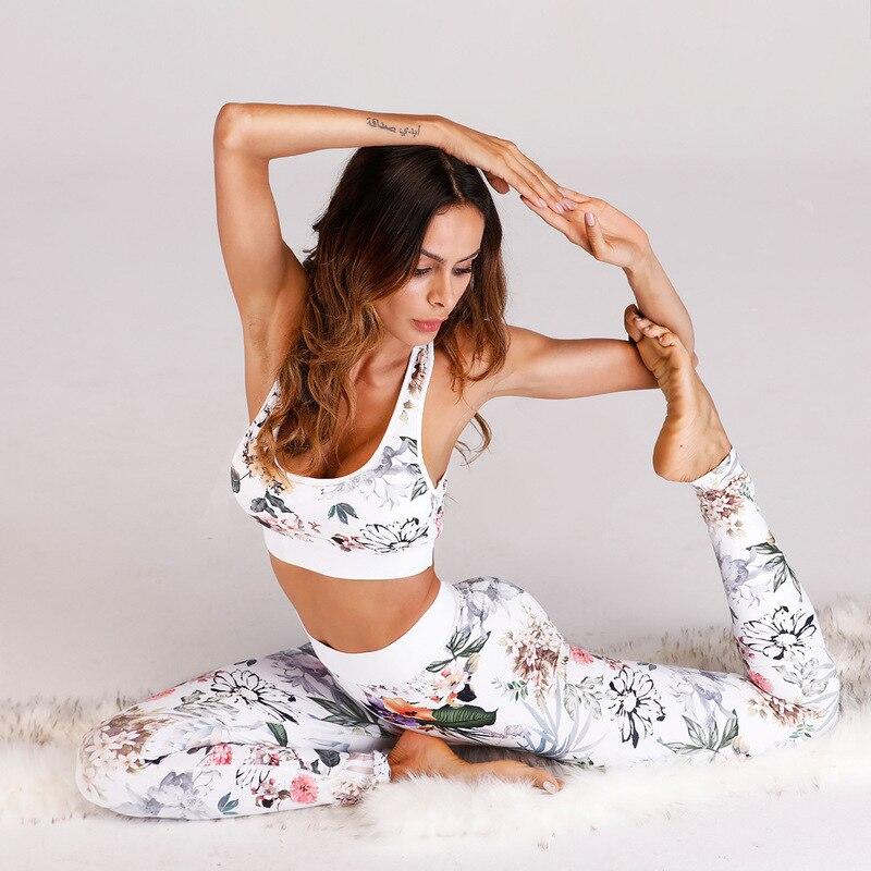 Women Sportswear Tracksuit 2 Piece Yoga Set Floral Print Women Bra+Long Pants Sports Suite for Women Fitness Sport Suit