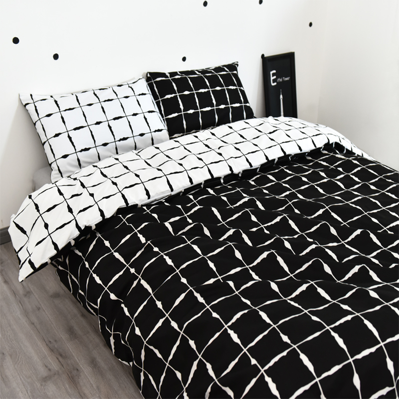 Black and white duvet cover set checked quilt cover 3pcs for Housse de couette noir et blanc 1 personne