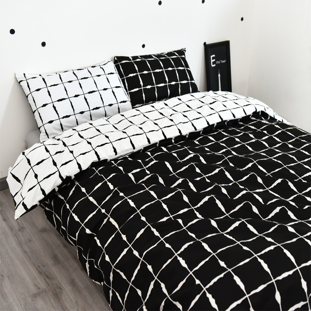 noir et blanc housse de couette v rifi courtepointe couverture 3 pcs beddig set blanc. Black Bedroom Furniture Sets. Home Design Ideas