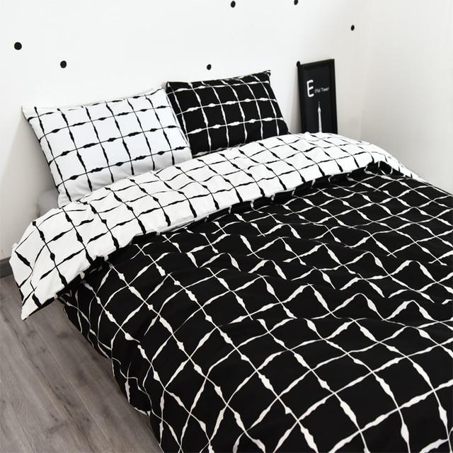 Noir et blanc housse de couette v rifi courtepointe couverture 3 pcs beddig set blanc - Housse de couette carreaux ...