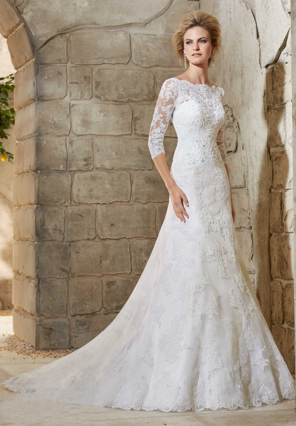 Collection Modest Lace Wedding Dresses With Sleeves Pictures ...