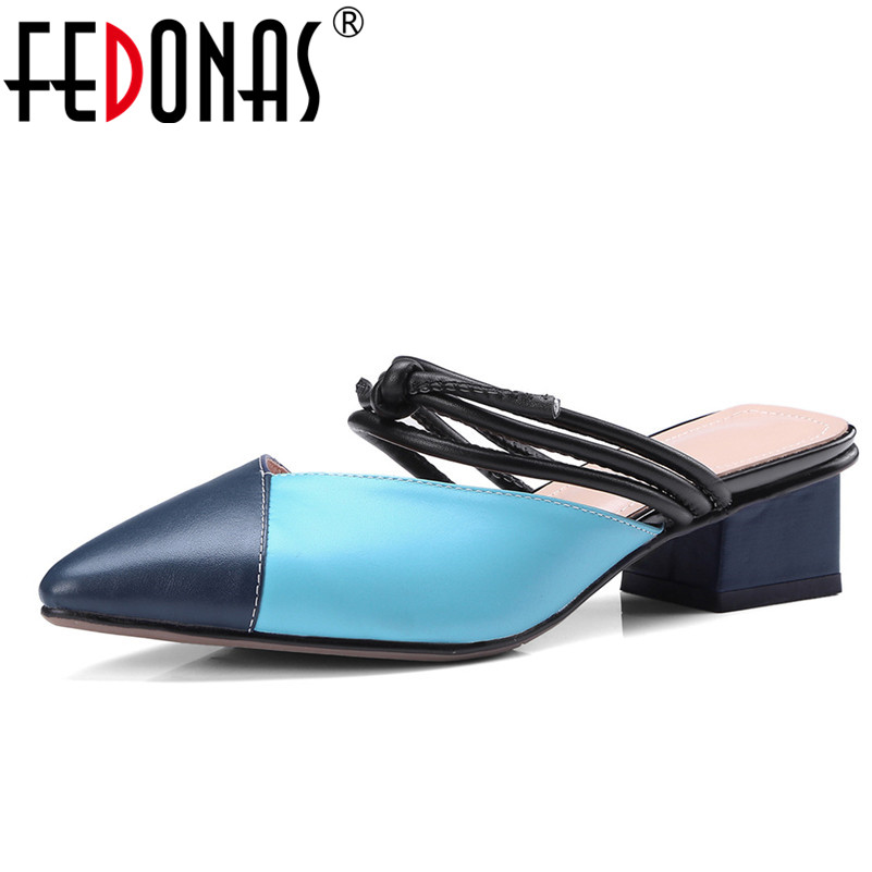 FEDONAS Women Genuine Leather Gladiator High Heels Summer Fashion Shoes Woman Sexy Patchwork Slippers Fashion Sandals Women 2018 summer new genuine leather women slippers sexy cut outs high heels shoes fashion slides natural leather sandals for women