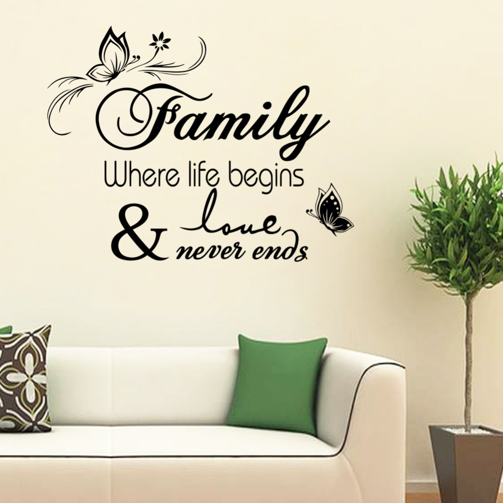 Family Where Life Begin Quote Warm Happy Home Wall Decals For Living Room Diy Flora Butterfly