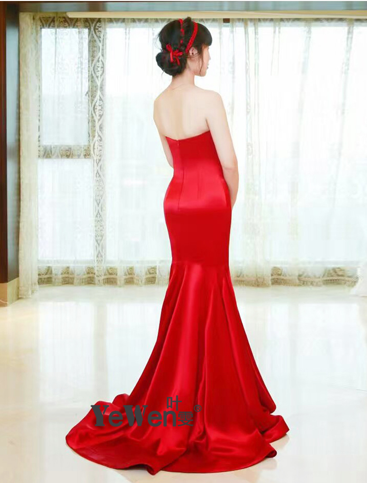 8cbcb58e9 Robe De Soiree Mermaid Evening Dresses long 2018 Real Photos Red Color Silk  satin backless Party Occasion Formal Prom Dress Gown