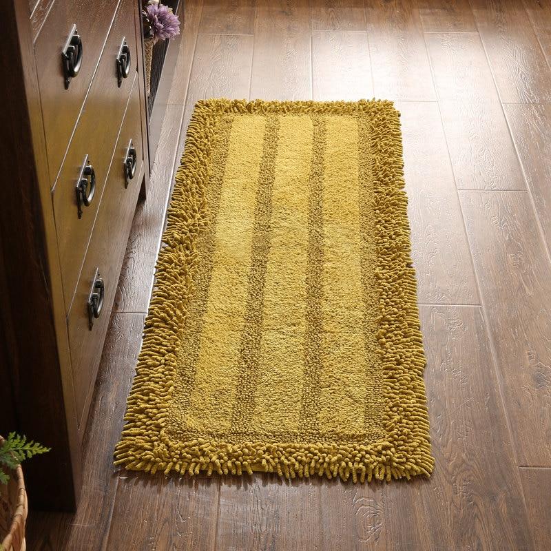 Cotton Chenille Floor Mat Mattress Non-slip Bedside Doormat Bath Mats Strip Foot Pad Toilet Rugs Water Absorption Kitchen Carpet