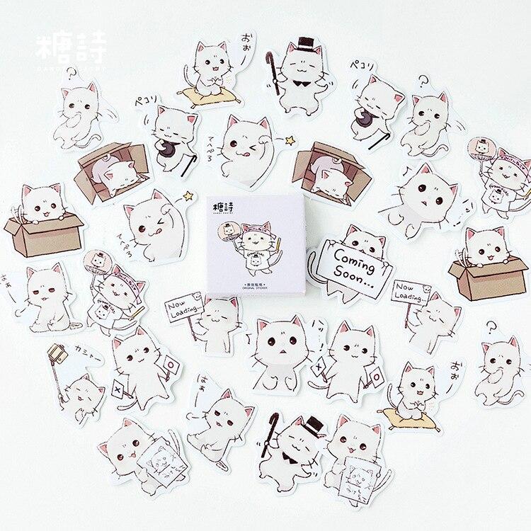 45pcs/lot Kawaii White Cat Mini Decorative Stickers Set Adhesive Stickers DIY Decoration Diary Stationery Stickers Children Gift