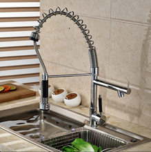 Heightening Single Handle Spring Neck Pull Down Faucet for Kitchen Bar or Vanity Sink Chrome Finish