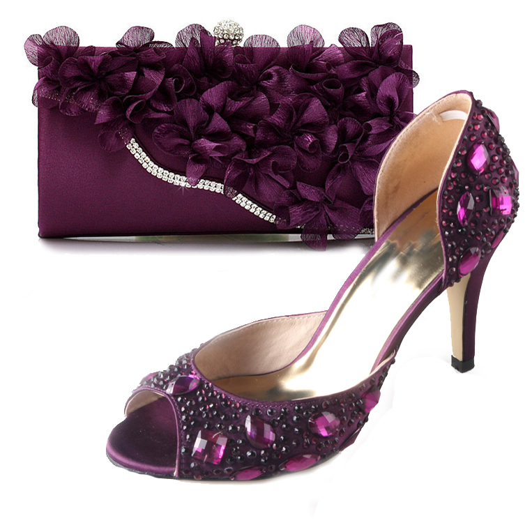 Elegant Purple D'orsay open toe crystal rhinestone shoes with matching 3D flower clutch bag handbag party wedding banquet kit