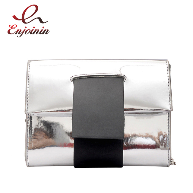 Laser Pink Silver Simple Fashion Pu Leather Las Day Clutches Envelope Bag Female Chain Purse