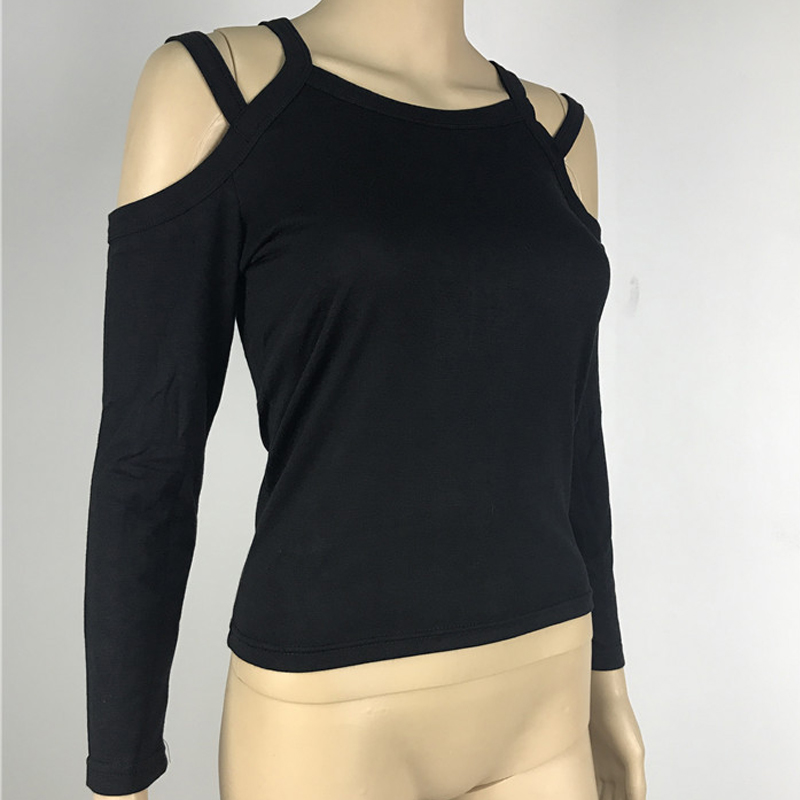 Lady Tops Women Off Shoulder Long Sleeve T Shirt Sexy Spring Black Slim Fit Lady Top in T Shirts from Women 39 s Clothing
