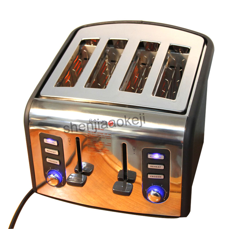 1PC 220V 4slices Toaster Stainless steel automatic toaster electric oven toaster breakfast machine Baking Heating bread machine