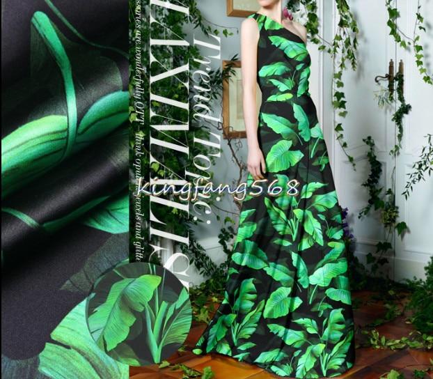 Devoted Designer 93% Natural Mulberry Silk 7% Spandex Stretch Satin Clothing Fabric Black Green Banana Leaf Dress Cheongsam 1m U434 Arts,crafts & Sewing