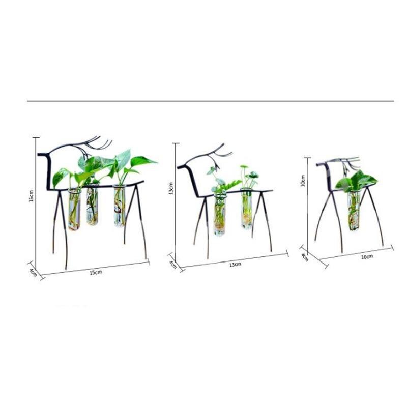 AsyPets Stylish Transparent Creative Plant Glass Container Simple Deer Double Bottles Flower Pot Desk Decor-25