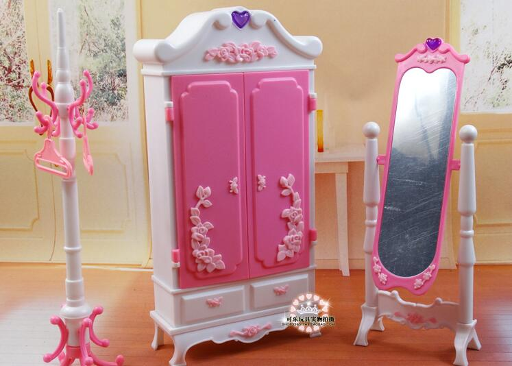 Free Shipping Simulation wardrobe dressing mirror Girl birthday gift plastic Play Set girl toys doll Furniture for barbie doll